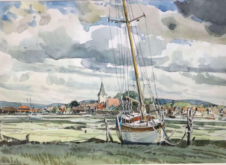 'Watercolour of Bosham' by Chichester artist Peter Iden 1945 - 2012