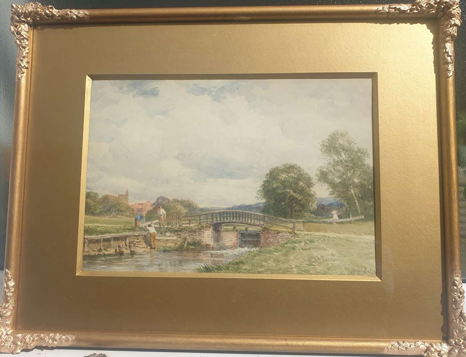 'Lock on the River Wey at Guildford' watercolour by David Bates c1890