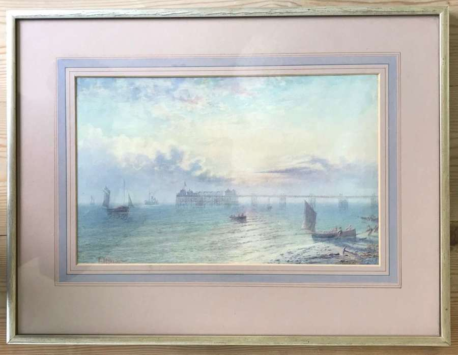 Watercolour of Brighton seafront by Frederick Miller dated 1876