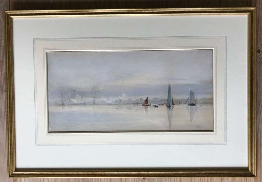 Watercolour 'On the Medway' by W.L.Wyllie RA signed 1893