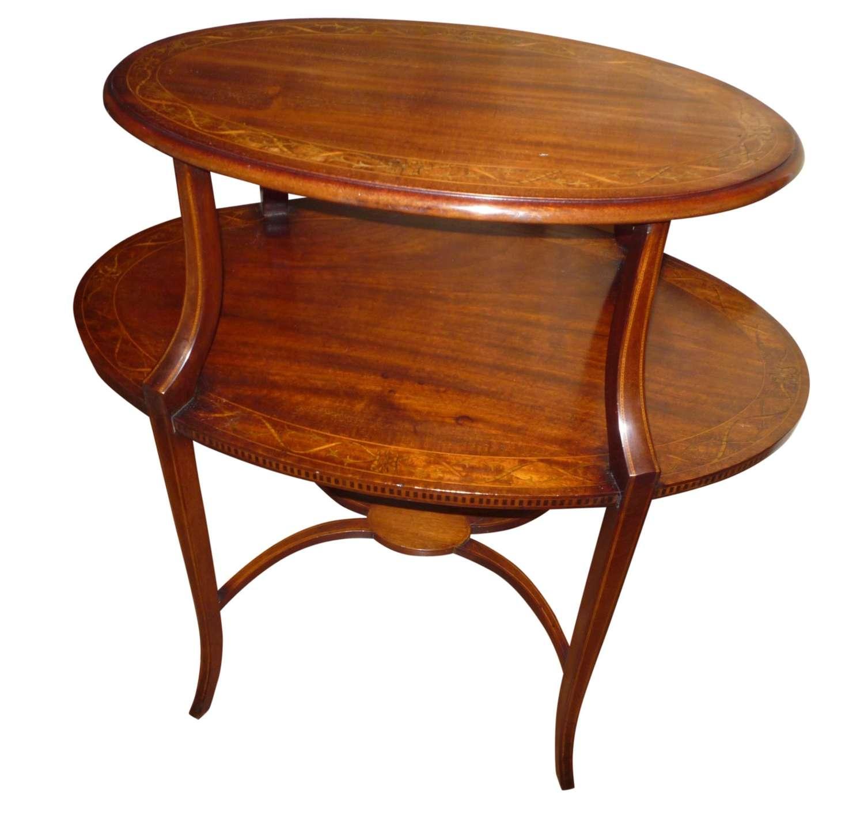 Edwardian inlaid mahogany oval occasional table circa 1910