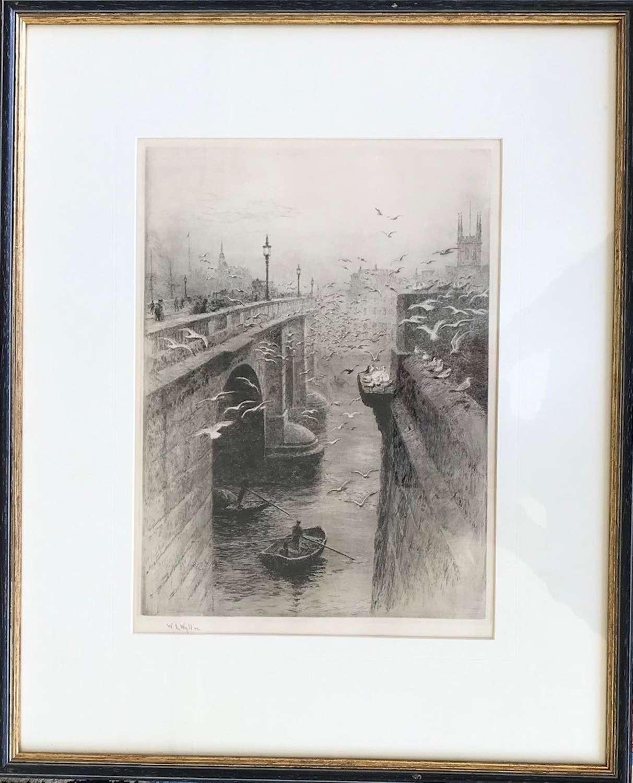 Signed etching by W L Wyllie RA 1851-1931 'London Bridge & Southwark'