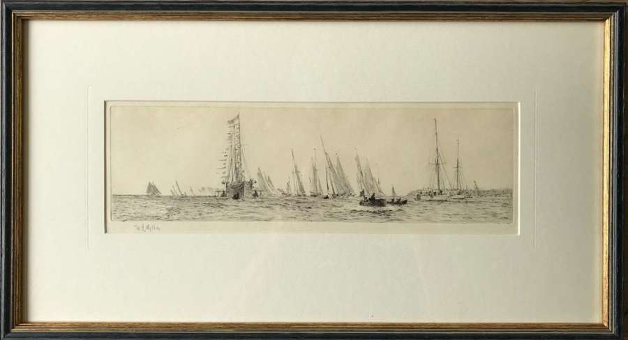 Etching by W.L.Wyllie RA 'Cowes week racing with the Royal Yacht'