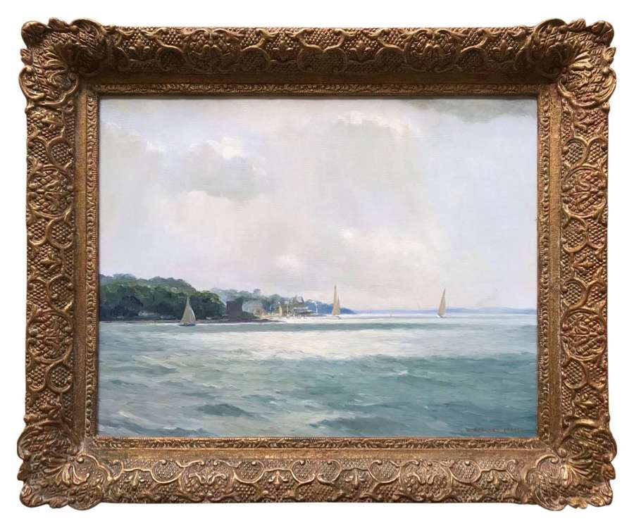 'Castle point , Cowes' an oil painting by W.H.Jarvis RSMA signed 1953