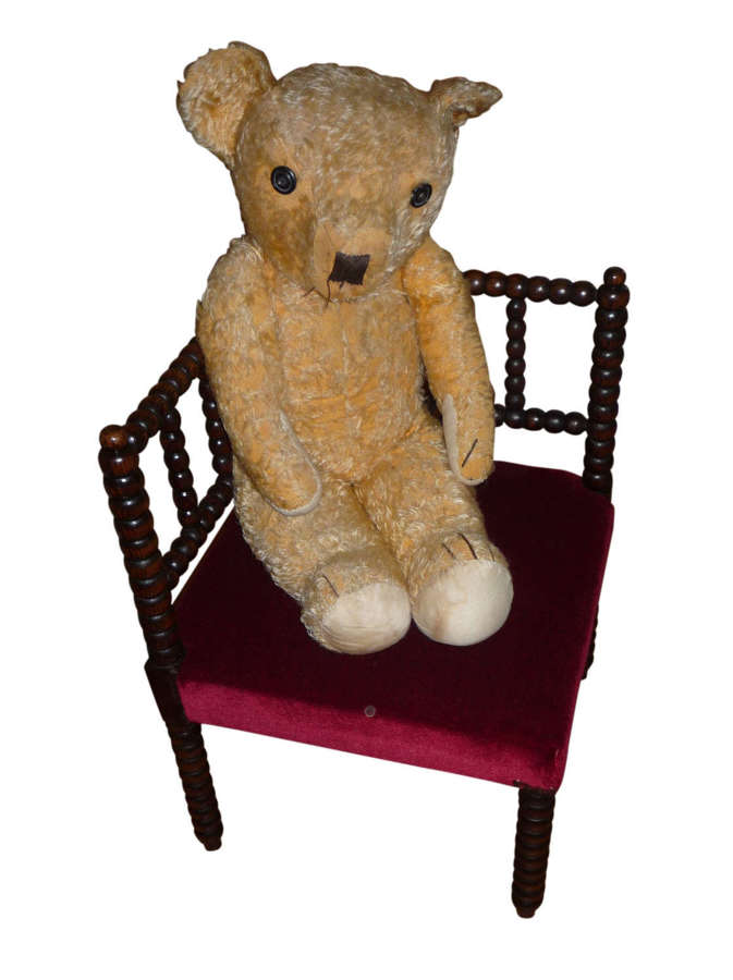 Victorian bobbin turned child's chair upholstered in velvet c1870