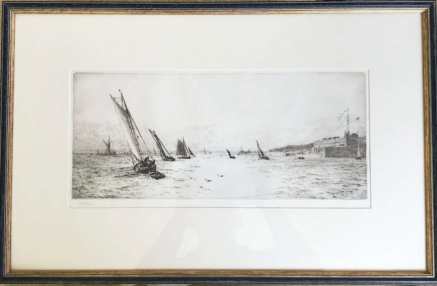 Etching by W.L.Wyllie RA 'Fort Blockhouse the entrance to Portsmouth'