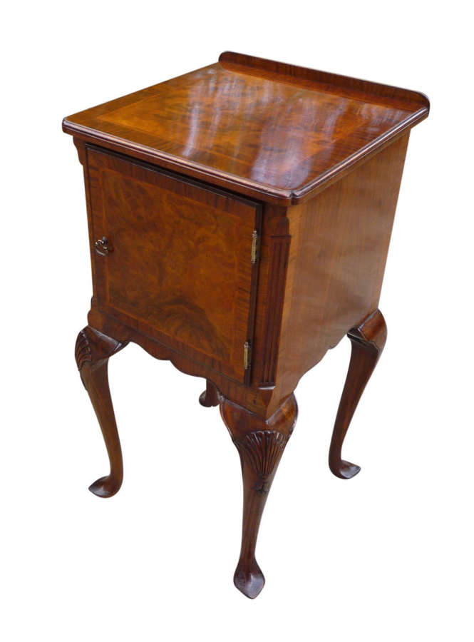 Burr walnut bedside table, in the Queen Anne style circa 1920