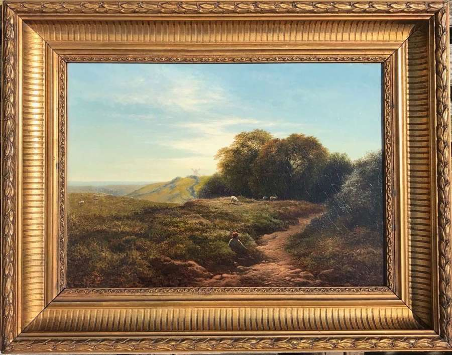 \'A Sussex Downland Scene\' an oil painting by Arthur Gilbert c1880