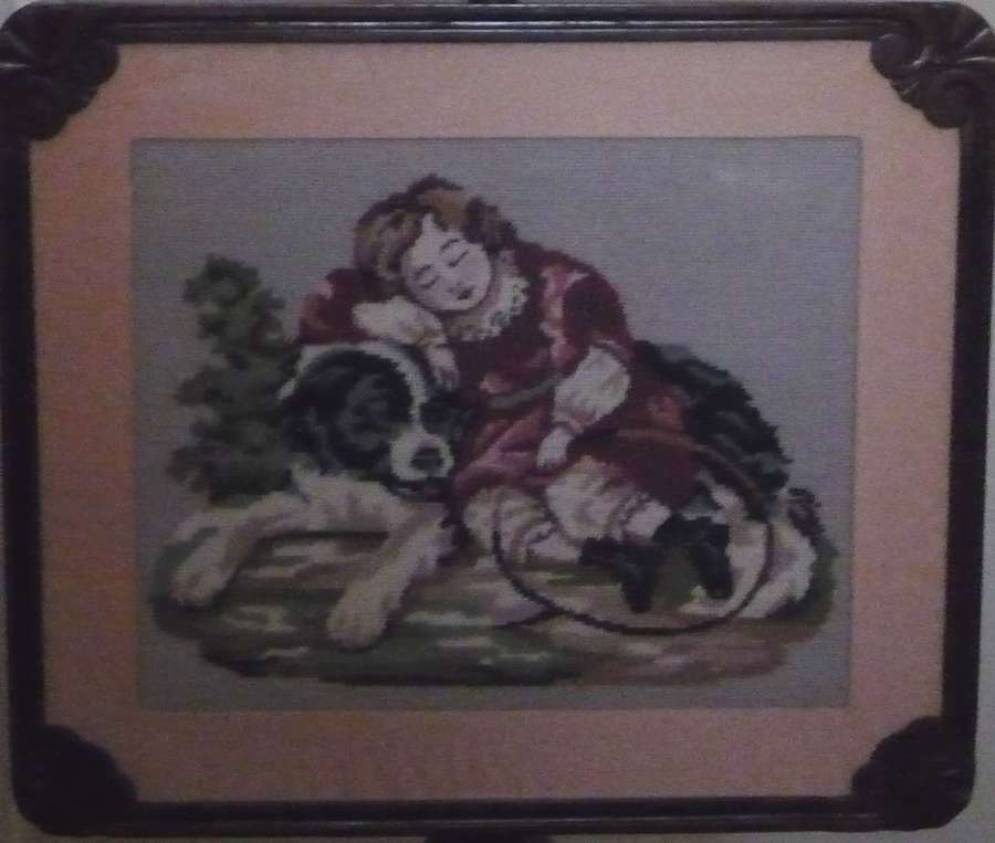 Victorian rosewood fire screen with a dog needlework circa 1850