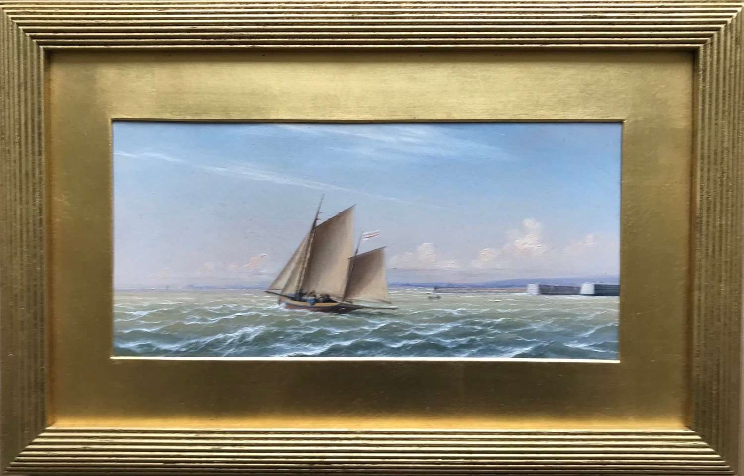 'The sailing yacht Henrietta' an oil painting by I.W.Jenner dated 1872