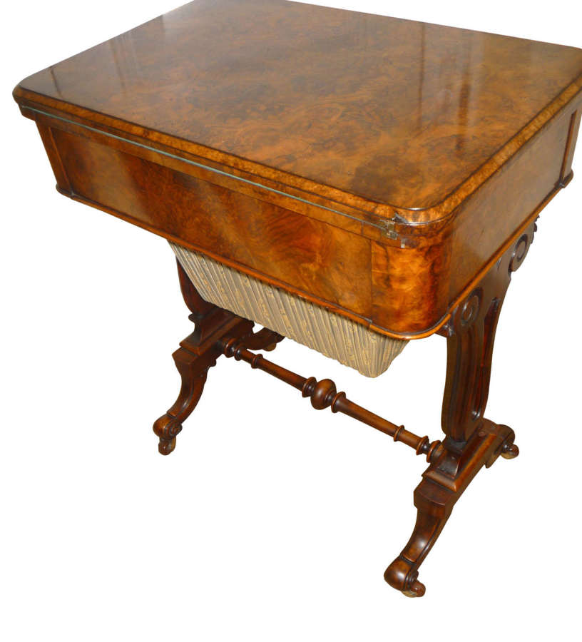 A fine quality burr walnut Victorian card / work table circa 1870